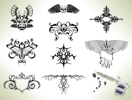 Serie Gruppe von Tattoo flash-Design-Elementen mit Tätowierer Gun oder Maschine