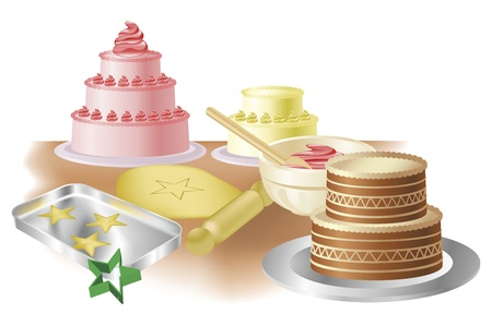 Cakes, cookies and baking paraphernalia illustration Stock Vector - 9440080