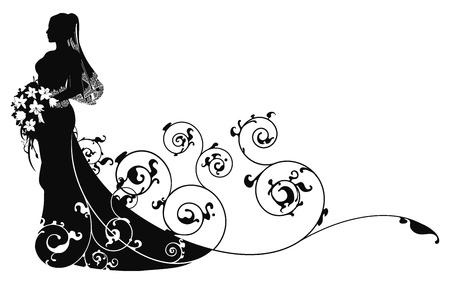 Mariée en silhouette de robe de beau mariage formant en résumé de fond Vecteurs