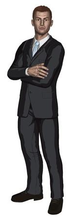 Illustratie van vertrouwen knappe jonge zakenman permanent met armen gevouwen