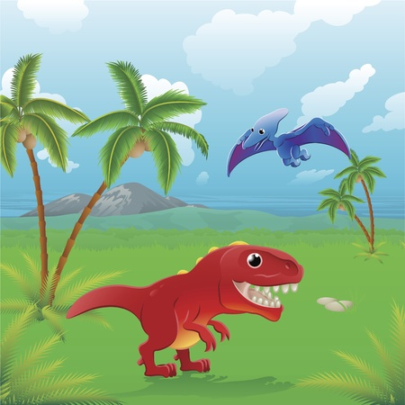 Cute dinosaurs in prehistoric scene. Series of three illustrations that can be used separately or side by side to form panoramic landscape. Vector Illustration