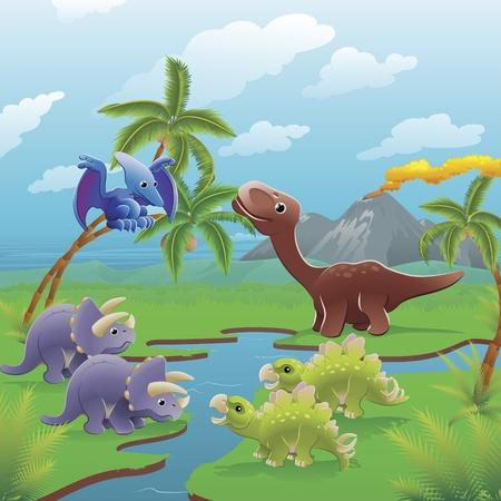 Lindas dinosaurios en escena prehistórico. Serie de tres ilustraciones que pueden ser usados por separado o al lado de paisaje panorámico de formulario.