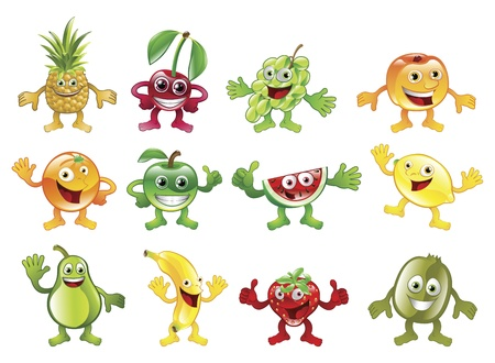 A set of happy cute colourful fruit character mascots Stock Vector - 9529637