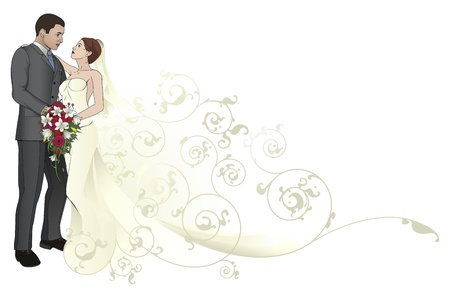 Bride and groom looking into each others eyes kissing abstract background pattern Illusztráció