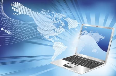A blue laptop word map globe business concept background illustration. Vetores