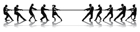 Concepto de competencia de tira y afloja de personas de negocios. Equipos de negocios a una cuerda tirando concurso de ensayo.