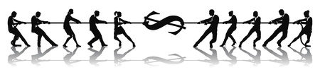 Business people fighting over money or stretching dollar currency money sign tug of war concept.