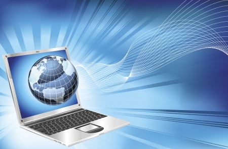 Une ordinateur portable bleu mot carte globe business concept arrière-plan illustration.