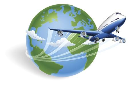 Avión alrededor del mundo y volando por Ilustración de vector