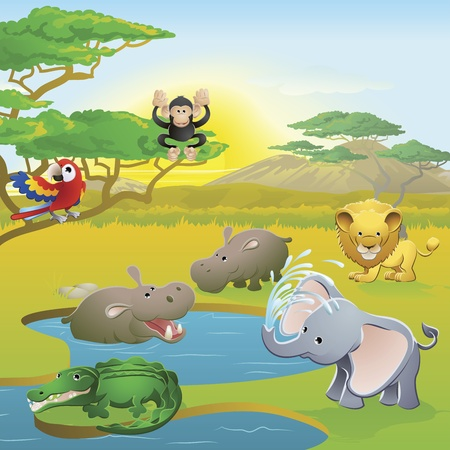 Escena de personajes de dibujos animados animales lindo safari africano. Serie de tres ilustraciones que pueden ser usados por separado o al lado de paisaje panorámico de formulario.