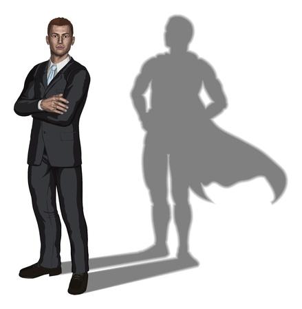 Illustratie van vertrouwen knappe jonge zakenman met de armen gevouwen met superhelden schaduw begrip Vector Illustratie