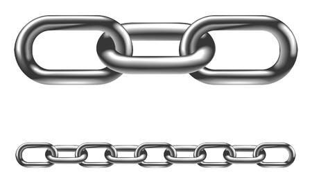 Eslabones de la cadena de metal. En la imagen de versión vector dispuesta en capas para hacerlo más fácil extender a la longitud deseada.