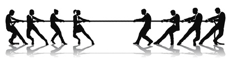 Vrouwen versus mannen touwtrekken concurrentie bedrijfsconcept. Kunnen worden gerelateerd aan de strijd van de seksen of loon gelijkheidskwesties.