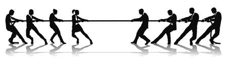 여자 대 남자 비즈니스 잡아 당김 전쟁 경쟁 개념 대. 남녀의 전투 또는 임금 평등 문제와 관련 될 수 있습니다.