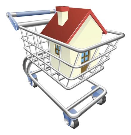 집과 쇼핑 카트 트롤리의 그림