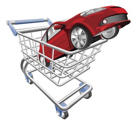Un'illustrazione di un carrello carrello con auto