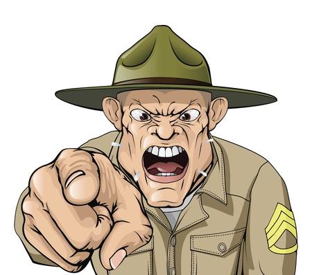 Ilustración del ejército aspecto enojado cartoon perforar sargento gritando en el Visor