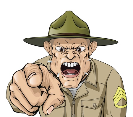 Illustration of cartoon angry looking army drill sergeant shouting at the viewer Vectores