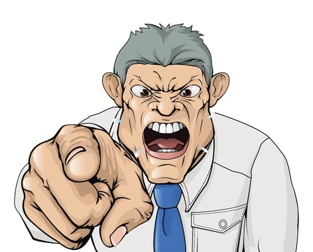 Illustration of a bullying boss shouting and pointing. Ilustração