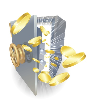 Illustration of a safe with gold coins flying out