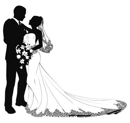 Une jeune mariée et le marié le jour de leur mariage, à propos d'embrasser en silhouette