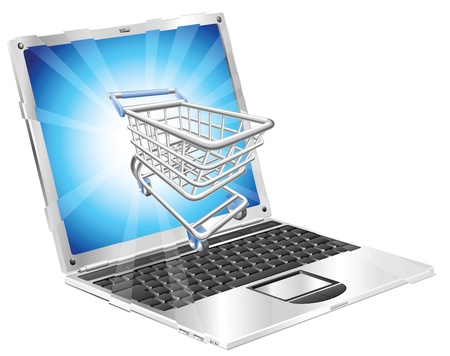Internet shopping laptop concept illustration. Shopping cart flying out of laptop screen.