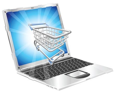 Internet winkelen laptop concept illustratie. Winkelwagen vliegen van laptop scherm.