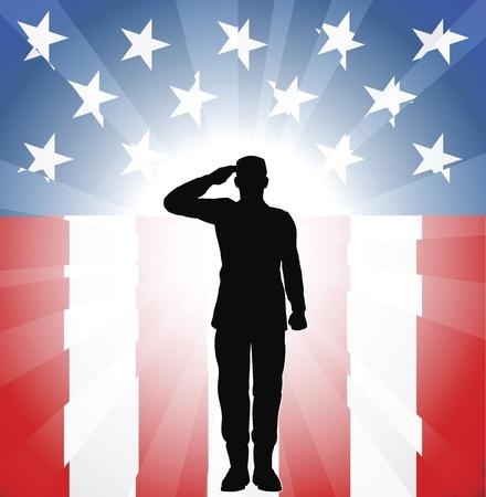 Patriotische Soldat an einen amerikanischen Hintergrund salutieren
