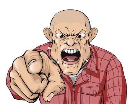 Un hombre enojado con la cabeza rapada gritando y señalando