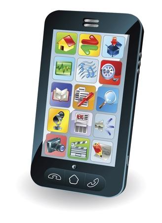 Ilustración de un nuevo teléfono móvil inteligente
