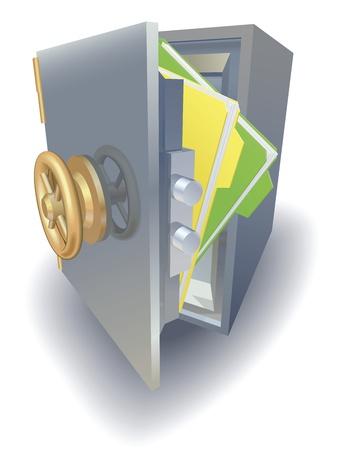 Concepto de protección de datos, archivos protegido en metal seguro de saftely Ilustración de vector