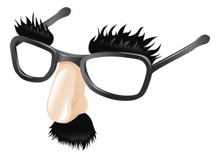Disfraz divertido, comedia nariz falsa bigote, cejas y gafas.