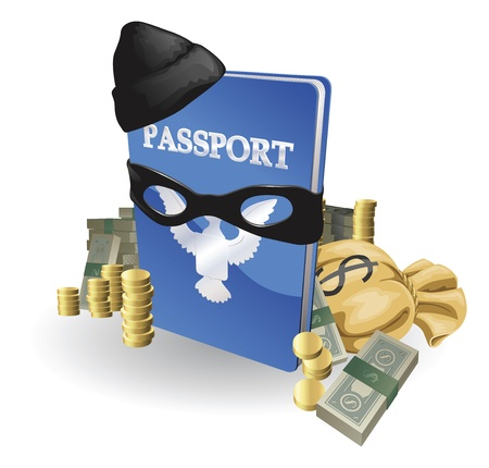 Identity theft concept. Passport with wearing burglar outfit surrounded by stacks of money. 일러스트