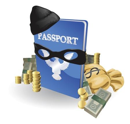 Concetto di furto di identità. Passaporto con indossa abito burglar circondato da pile di denaro.