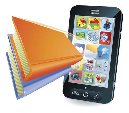 Smartphone book conceptual illustration