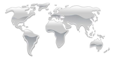 Una mappa del mondo fatto con gocce di metalli argento liquide come mercurio, formando i continenti