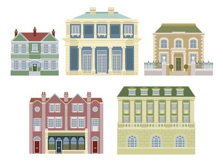 Vieilles maisons fashioned intelligente de luxe chères et autres bâtiments. Vecteurs