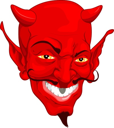 A red cartoon style devil face