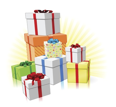 Pila de amorosamente envueltos regalos para Navidad, cumpleaños u otra celebración
