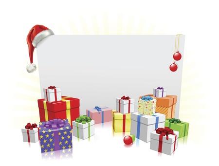 Sfondo segno e regali di Natale con copyspace per il tuo messaggio Vettoriali