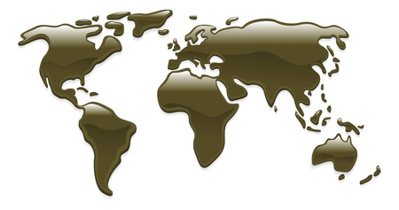 A world map with crude oil droplets forming the continents