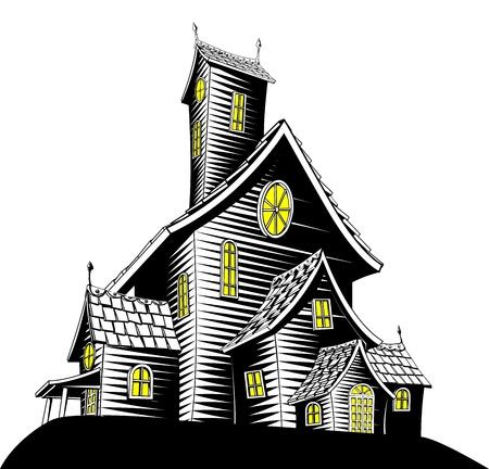 Halloween illustratie van een haunted spookhuis