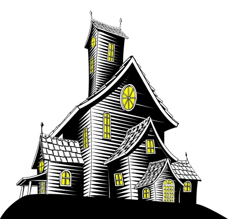 Halloween illustration of a haunted ghost house