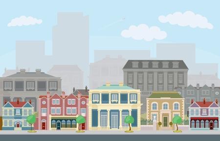 Une scène de rue urbaine avec smart maisons en rangée et les gratte-ciels en arrière-plan