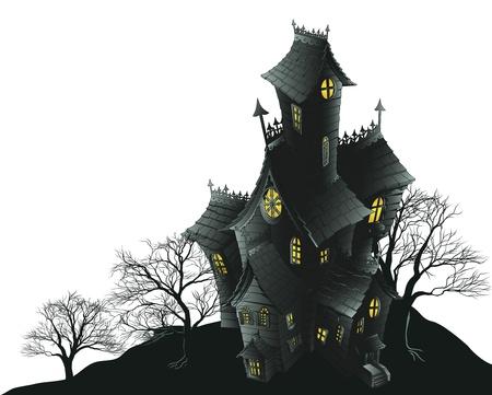 Illustratie van een haunted spookhuis