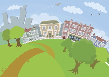 A lovely urban scene with park and houses Illustration