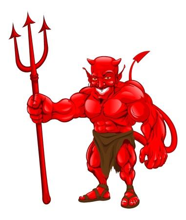 갈퀴와 함께 서있는 악마 만화 캐릭터의 그림