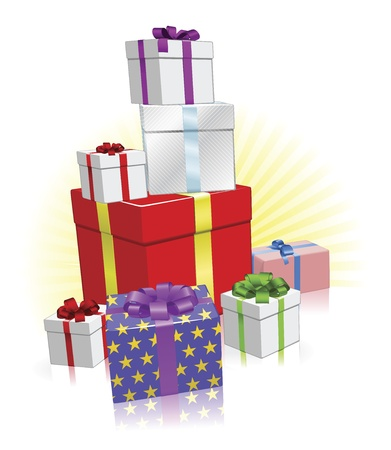 Pila de regalos envueltos para Navidad, cumpleaños u otra celebración