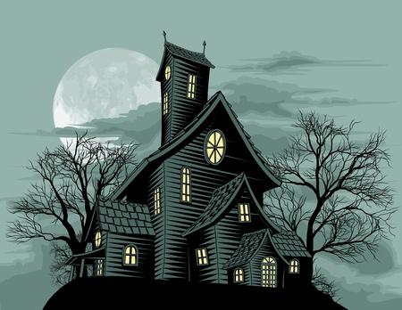 Scena di Halloween. Illustrazione di una casa di spooky haunted fantasma