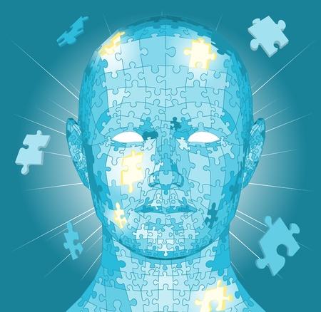 Jigsaw Puzzle-Stücke bilden einen menschlichen Kopf. Konzeptionelle Stück